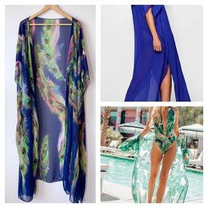 🦚 Peacock Feather Print Chiffon Maxi Beach Kimono